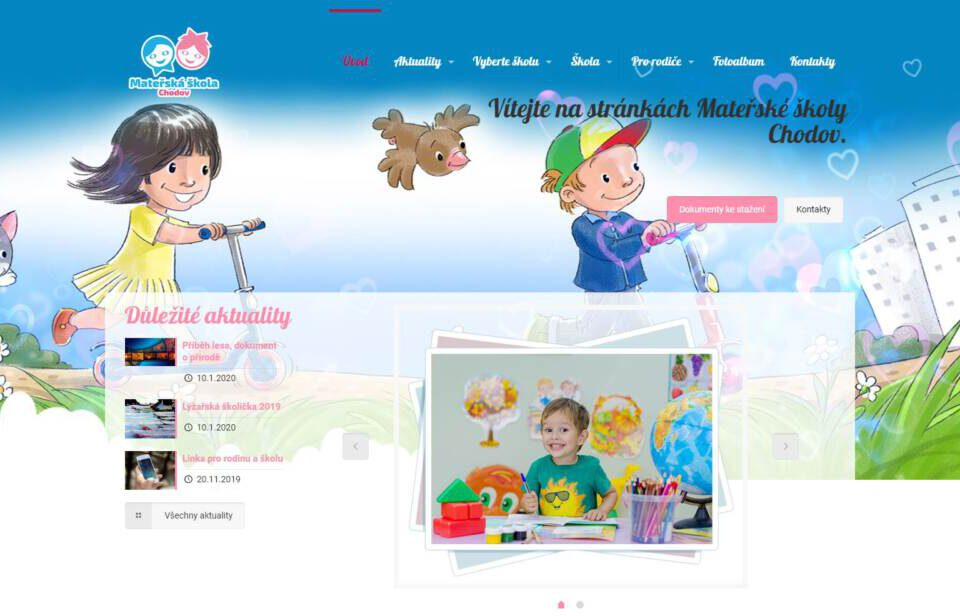 printscreen www stránek mateřské školy